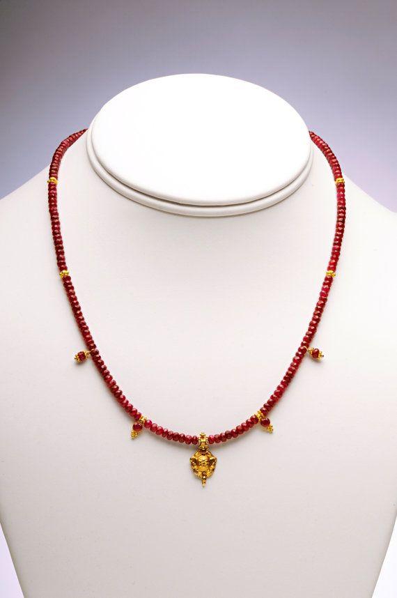 Tiny Gold Indian Amulet and Ruby Gemstone Necklace by scarletgems