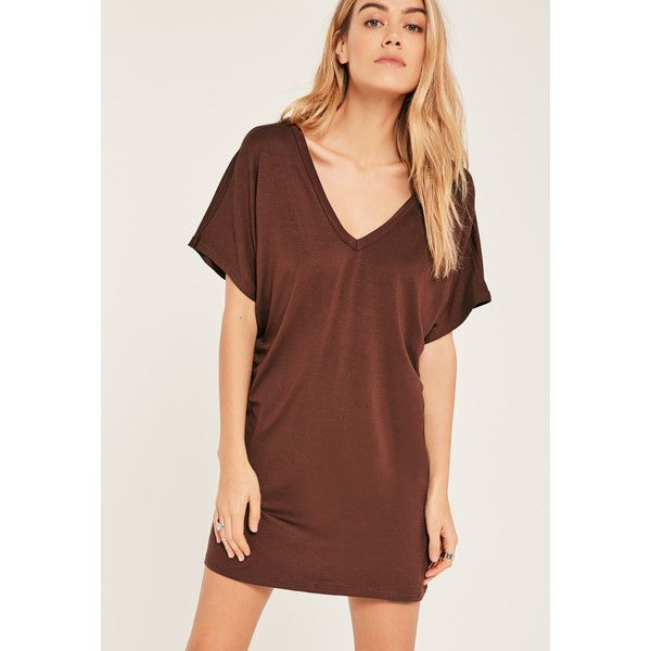 Missguided Brown Petite Wide Neck T-Shirt Dress ($26) ❤ liked on Polyvore featuring dresses, chocolate, t-shirt dresses, chocolate brown dress, chocolate dress, brown dresses and t shirt dress
