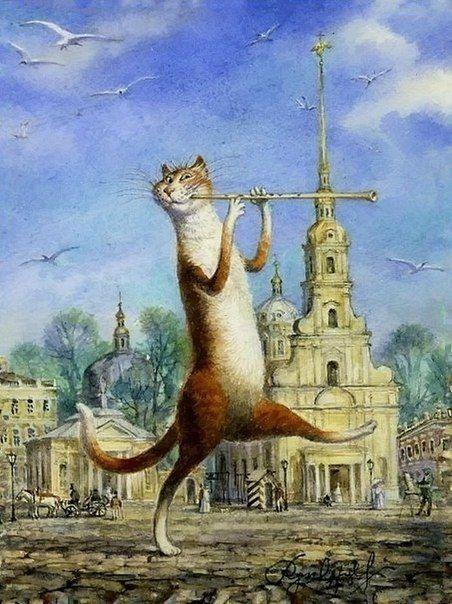 ПИТЕРСКИЕ КОТЫ Питерские коты на картинах Владимира Румянцева | 10 фотографий
