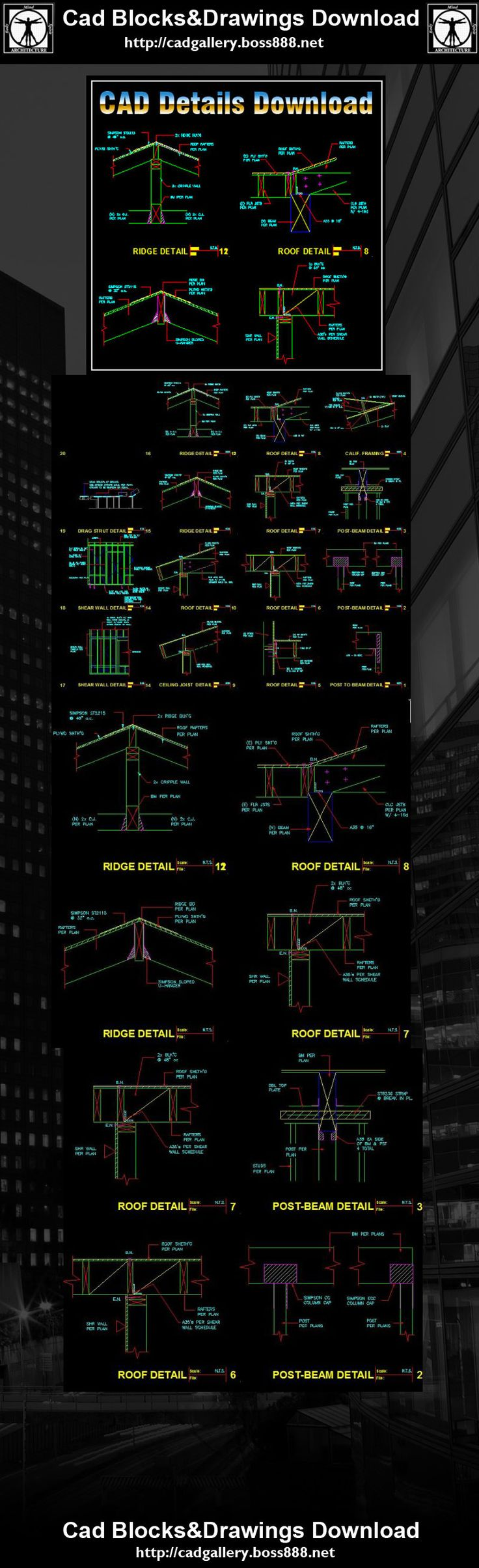 Construction Details Drawings,Construction CAD drawings downloadable in dwg files,Building Details,Architecture Drawings AutoCAD Blocks | AutoCAD Symbols | CAD Drawings | Architecture Details│Landscape Details