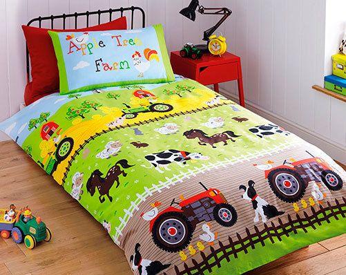 single size apple tree farm farmyard animals tractor childrens duvet cover set