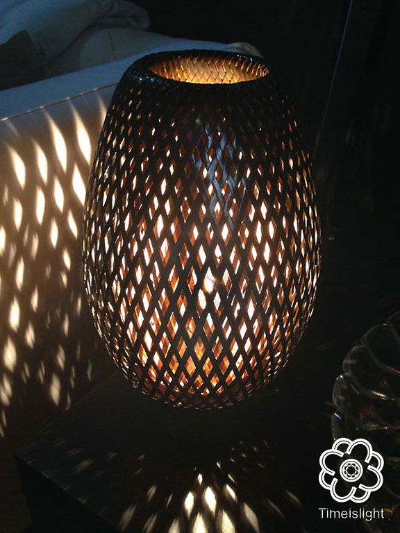 Lampe En Bambou Tresse De 35 Cm Noir Laque Variateur D Intensite