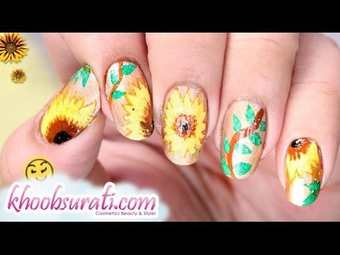 Sunflower Nail Art Design