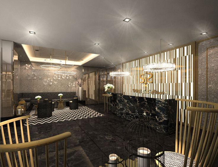 Hospitality SpaceInterior Design Commercial Project Modern Glam Luxury Reception Lobby