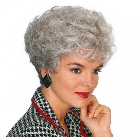 peluca muy natural de pelo sintetico, peluca color gris, de fibra sintetica, pelo corto y rizado sin tapa