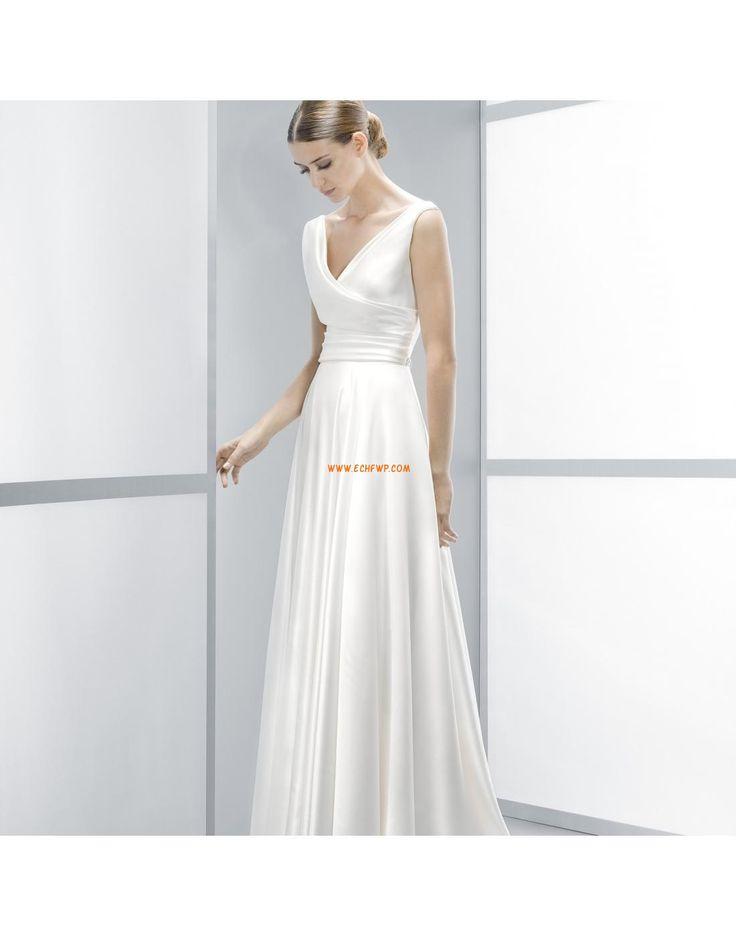 A-line Traîne moyenne Empire Robes de mariée pas cher
