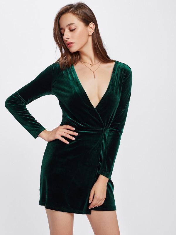 Green Surplice Wrap Long Sleeve Velvet Plunging Dress Long Sleeve Short Dress Plunge Dress Velvet Wrap Dress
