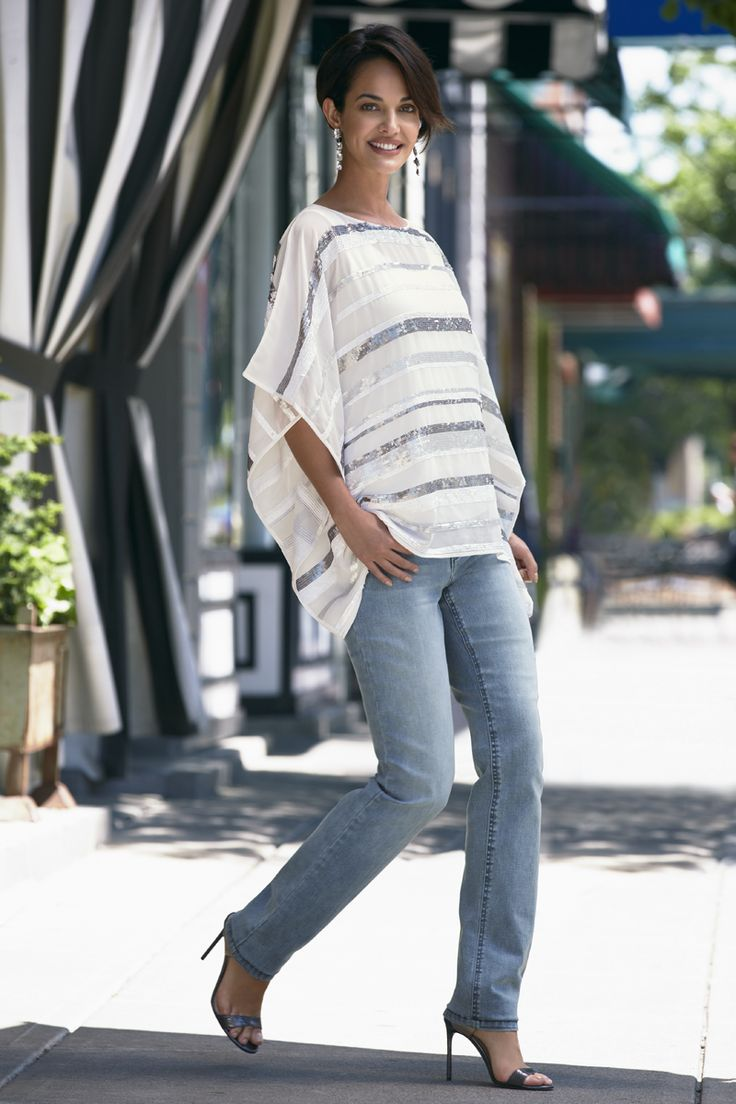 Head-to-toe fabulous. Chico's Sequin Stripe Poncho paired with the So Lifting Slim-Leg Jean.