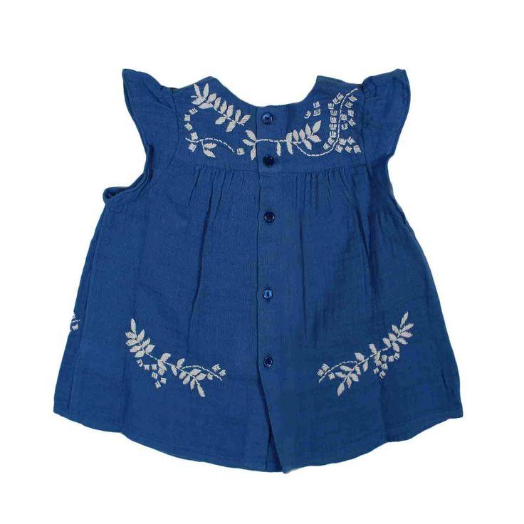 Bonpoint - Abito Envie Blu Bimba Bebè Fine e vivace abito blu ricamato modello Envie firmato #bonpoint Baby della nuova Collezione Primavera Estate 17 - Linea di abbigliamento Bambina e Neonata compralo su annameglio.com shop online