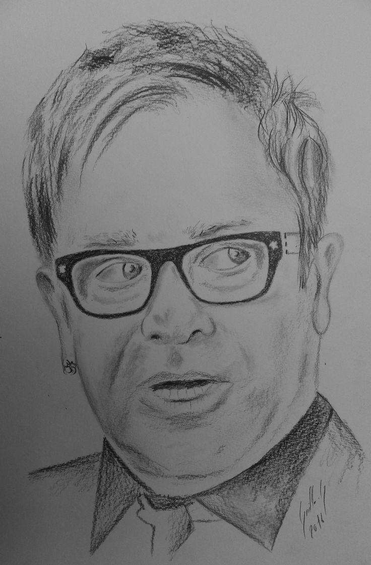 Elton John. Dessin au crayon