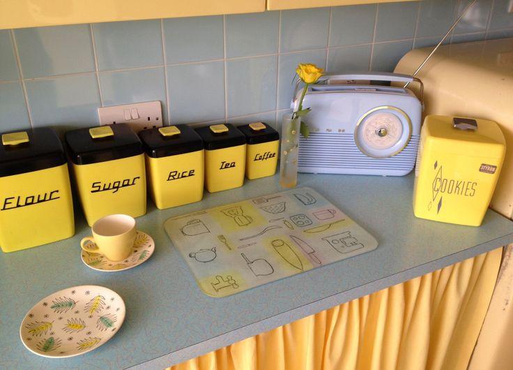 terrific blue yellow kitchen decor | Yellow and powder blue 50s kitchen accessories. Love that ...