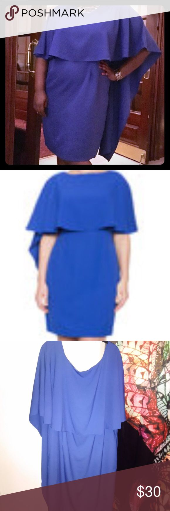 Cascading Capelet Dress Royal blue dress with slight a semi cape.. **Dress is cut a little small, so I ordered a couple sizes up and it fits great. I'm usually an 18.** Only worn once to a wedding. Eloquii Dresses Long Sleeve