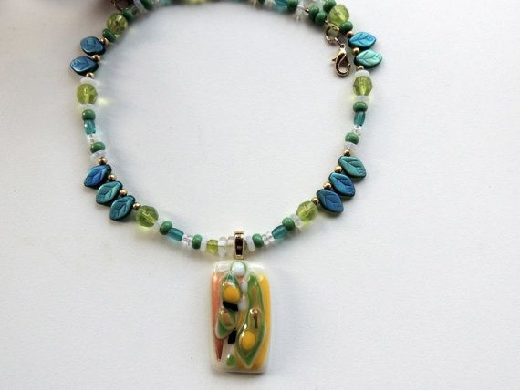 fused glass necklace rectangle bead glass by Homeforglasslovers, $30.00