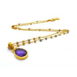 Azuni Gold Plated Amethyst Window Cut Necklace