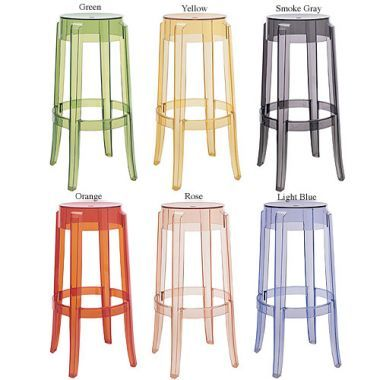 Kartell Charles Ghost Transparent Clear Acrylic Bar Stool by Philippe Starck
