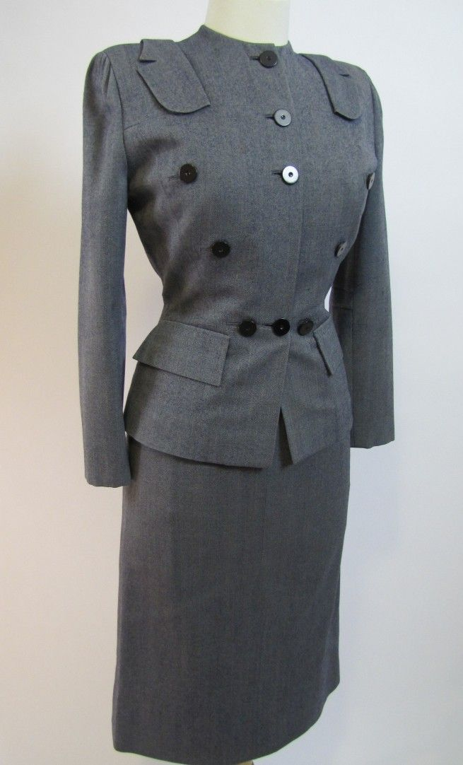 1940's Gilbert Adrian Two-Piece Gray Military Day Suit