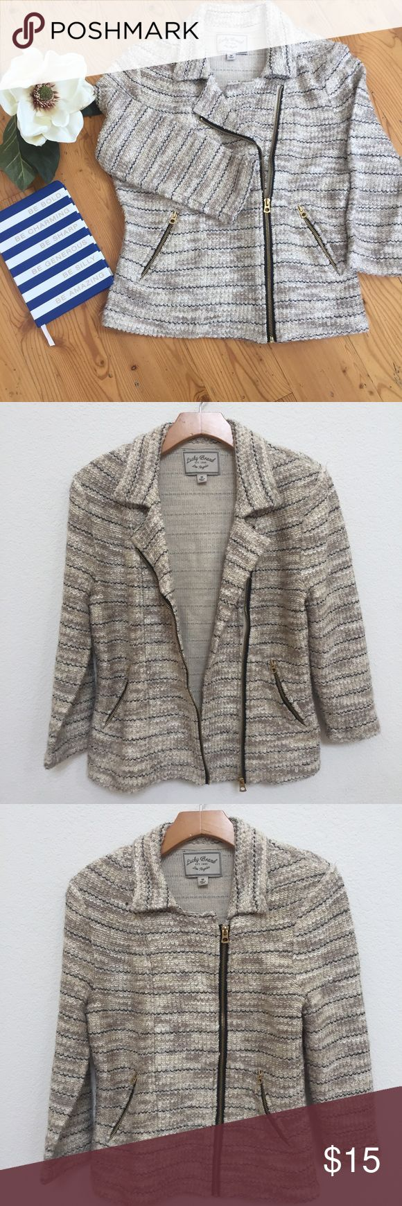 Lucky Brand Jacket Sz M Pre Owned Lucky Brand Jacket Sz M, good condition. Front zipper , motorcycle style jacket , length 23, chest 18. Lucky Brand Jackets & Coats Blazers