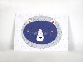P012.2 Bär kleiner Bruder Postkarte für den kleinen Bruder im Din A6 Format aus hochwertigem Recyclingpapier.  1,50 € inkl. MwSt., zzgl. Versandkosten