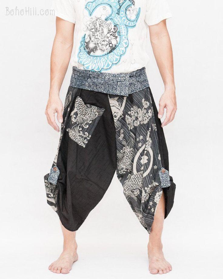 Size M/L Unique Wrap Around Samurai Harem Pants (Black Japanese Koi Fish)