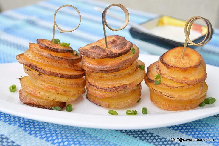 Rondele de cartofi la cuptor - turnulete in forme de briose reteta savori urbane
