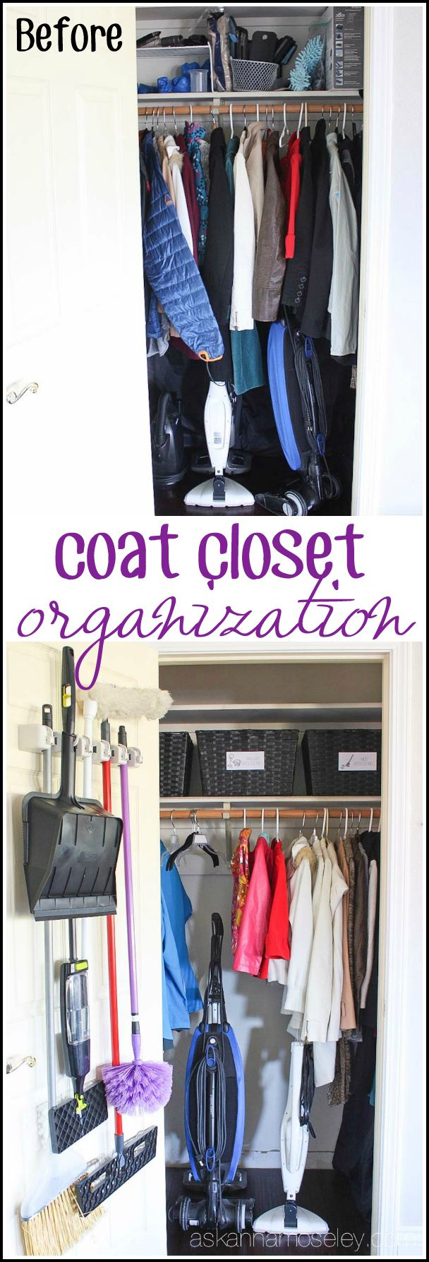 Make use of every square inch with these ops! Coat Closet Organization - Ask Anna