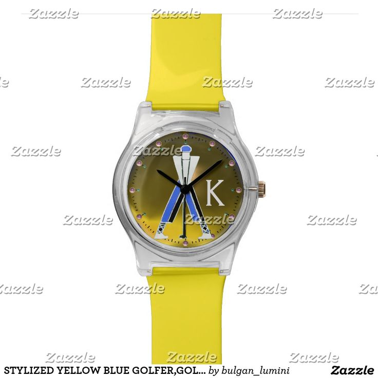 STYLIZED YELLOW BLUE GOLFER,GOLF PLAYER MONOGRAM WATCHES #golf #golfplayer #golfer #sport #fashion #sports #golfers