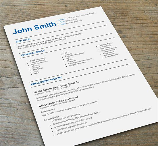 blue accent resume template
