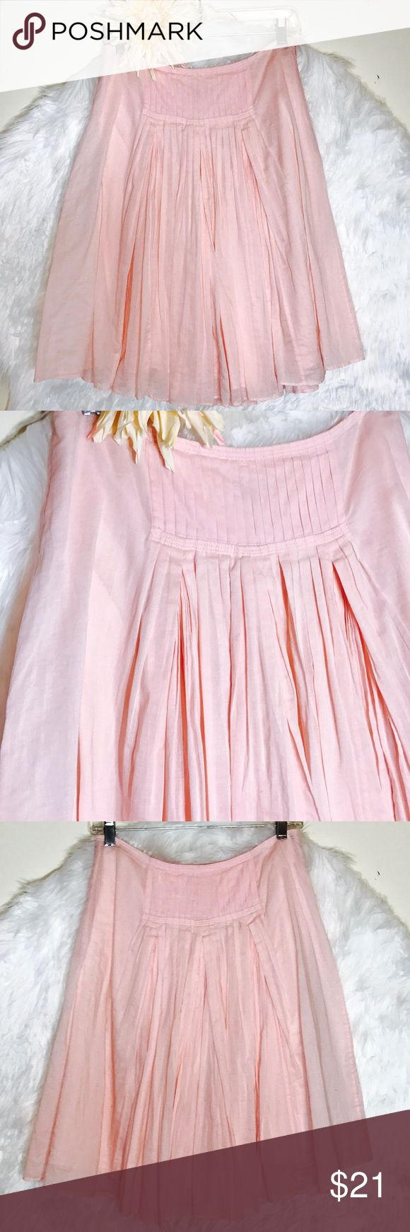 """J.Crew Pink Pleated Skirt Everything is better with this classic pleated skirt, made modern with 100% cotton. The best part? The fabric is a super soft , so the skirt itself is incredibly lightweight. Laid flat across @ waist: 14"""", length: 23"""". EUC J. Crew Skirts"""