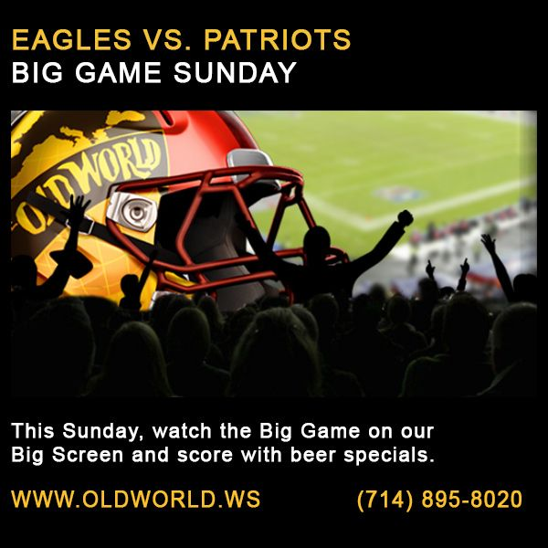 Eagles VS Patriots, this Sunday! Skip the food prep & cleanup - come to Old World and watch the game on our big screen and enjoy beer specials!  #oldworldhb #surfcityusa #biggame #football #bigscreentv #beer
