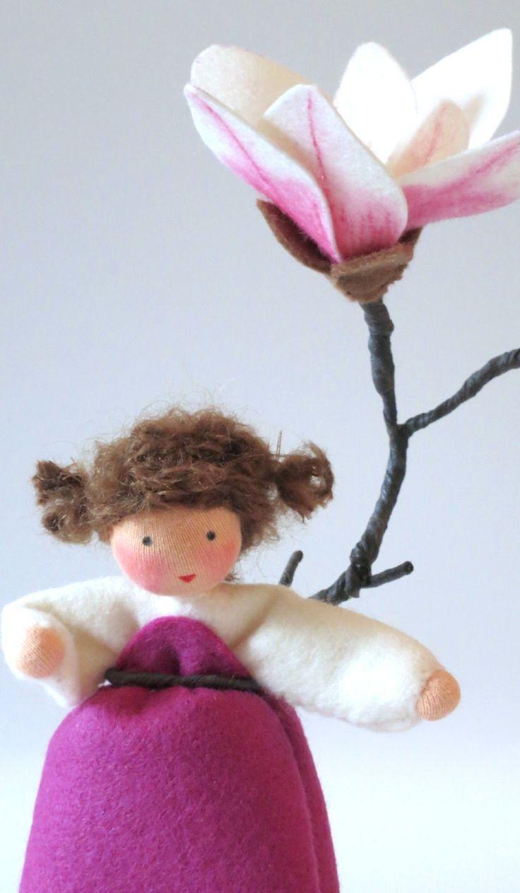 Wool-felted, Waldorf-Inspired Little Girl 'MAGNOLIA' Flower Fairy Child ................................................................................................ by KatjasFlowerFairys   Etsy