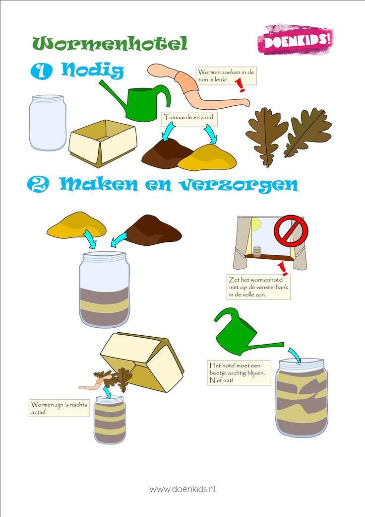 Wormenhotel maken - zie de Activitheek van www.doenkids.nl