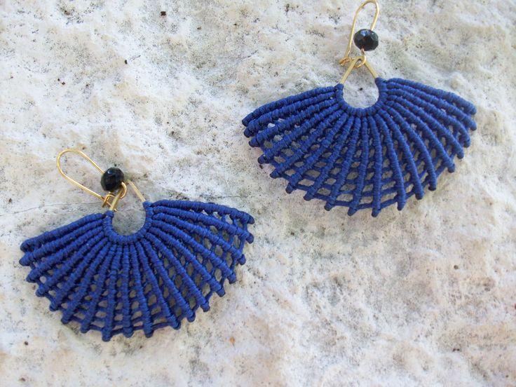 Macrame fanshaped earrings - Blue earrings, micro macrame, women jewelry, boho earrings, boho style