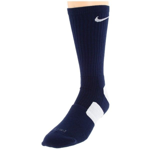 Nike Elite Basketball Crew 1-Pair Pack Crew Cut Socks Shoes, Navy ($9.99) ❤ liked on Polyvore featuring intimates, hosiery, socks, navy, crew socks, moisture wicking socks, navy hosiery, nike and navy blue hosiery