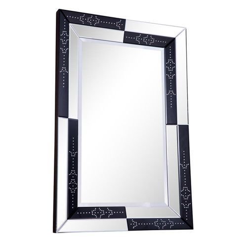 Modern Clear and Black 47-Inch Rectangle Mirror