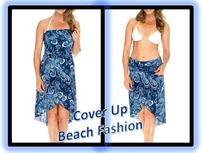 Blue Denim Beach Dress Cover Up Swimming Surfing Fashion Women #ad