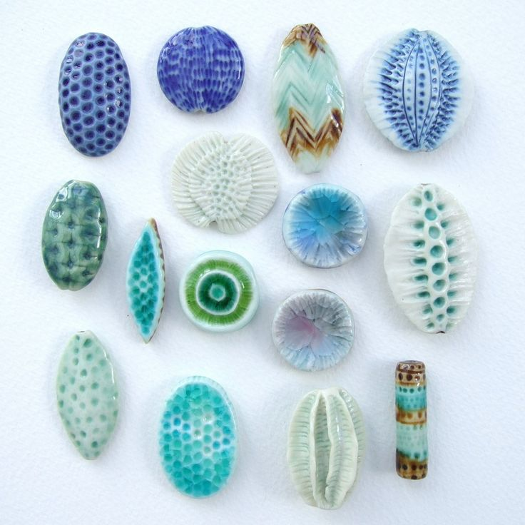 beads and pendants - porcelain, stoneware glazes, glass. By Lisa Stevens c-urchin.