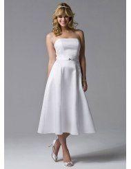 David's Bridal Wedding Dress: Strapless Tea-Length Dress Style BR1000