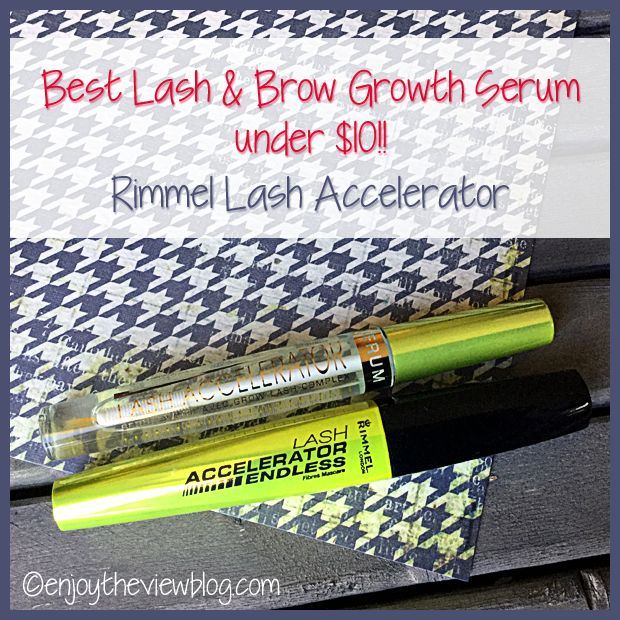 Best Lash & Brow Growth Serum Under $10? Yes, please! It's Rimmel Lash Accelerator! It comes in a clear serum and incorporated in a mascara! #makeup #cosmetics #beauty #lashgrowthserum #RimmelLondon #enjoytheviewblog