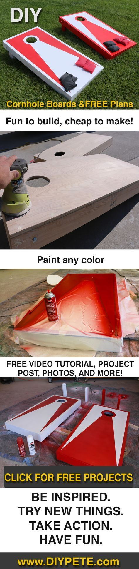 DIY Cornhole Boards! This is a super simple project that will lead to years of fun out on the patio. Video, detailed post, and Free Plans by DIY Pete.