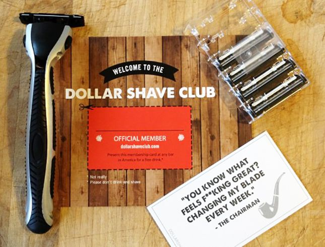 Gift your guy a subscription to the dollar shave club.