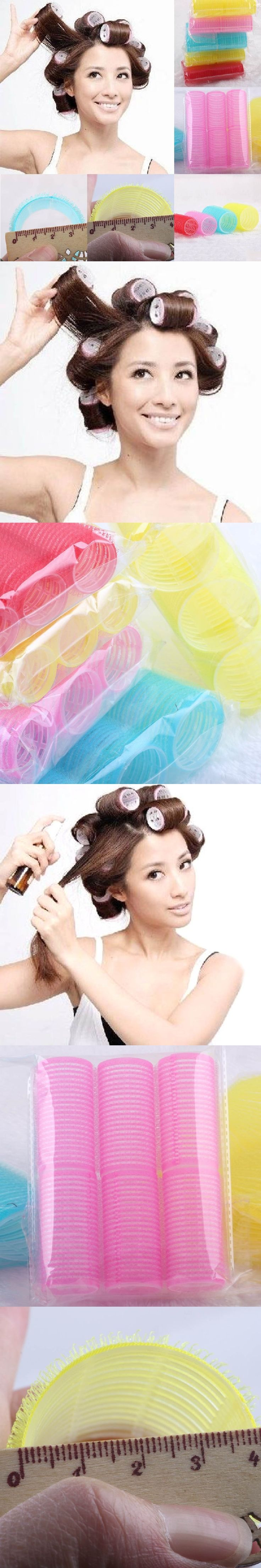 6Pcs/Sets Women Girls Big Self Grip Hair Rollers Cling Any Size DIY Hair Curlers Beauty Tools