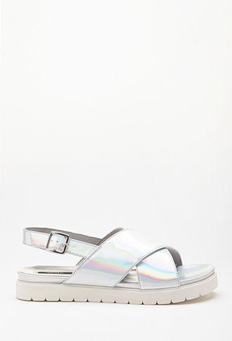 Metallic Flatform Sandal   FOREVER21 - 2000078869