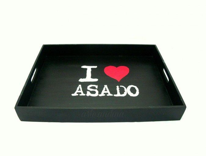 """Wood Tray """"I love Asado"""" design by ARTE.ANDINA Bandeja de madera con diseño """"I LOVE ASADO"""""""