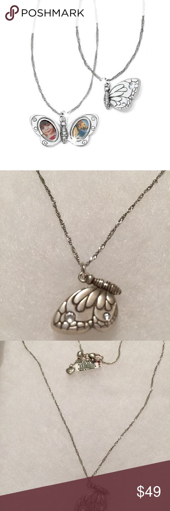 """NWT Brighton Silver Butterfly Locket Adorable! This is a brand new with tags, genuine Brighton necklace in silver! A beautiful signature butterfly that, when opened, is a locket! Chain can adjust to 19"""" make shorter or longer. Adorned with genuine Swarovski😊 Brighton Jewelry Necklaces"""