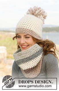 """Crochet DROPS hat and neck warmer in """"Eskimo"""". ~ DROPS Design"""