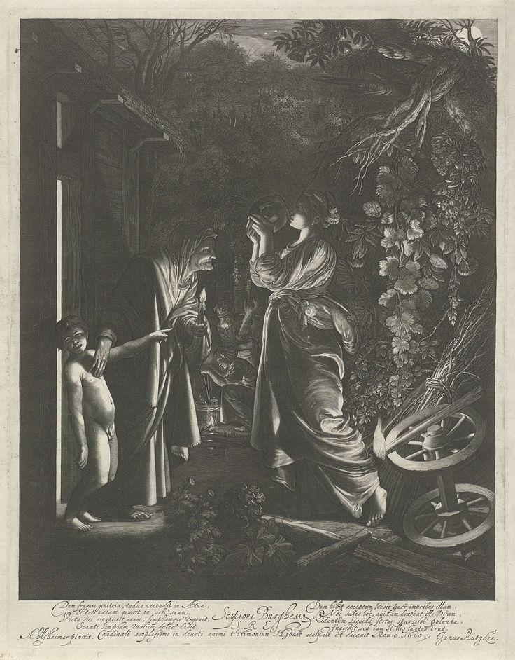 Hendrick Goudt | Bespotting van Ceres, Hendrick Goudt, Johannes Rutgers, 1610 | De godin Ceres, op zoek naar haar dochter Proserpina, rust uit bij een hut. Ze drinkt uit een kruik, gegeven aan haar door een oude vrouw. Een kleine naakte jongen naast de oude vrouw wijst naar Ceres en lacht haar uit. De prent heeft een Latijns onderschrift. Naar een schilderij van Adam Elsheimer.