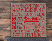 Baseball Collage Vinyl Wooden Subway Art Sign X Children Wall Art Baseball Decor Baseball Wall Decor Bedroom Decor