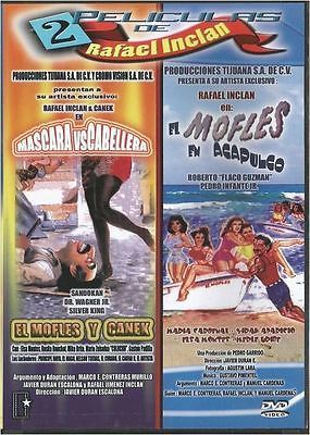 MASCARA VS CABELLERA Y EL MOFLES EN ACAPULCO 2 PELICULAS DE RAFAEL INCLAN NEW