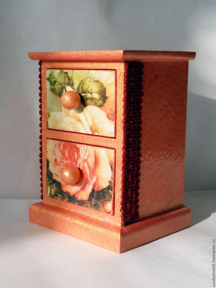 """Купить Мини-комод для украшений """"Винтажная роза"""" - коралловый, розовый, комодик, комодик для украшений"""