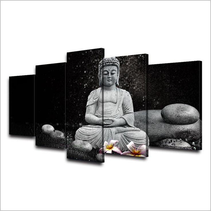 "5 Panel ""Rain Pebble"" Buddha Canvas Painting"